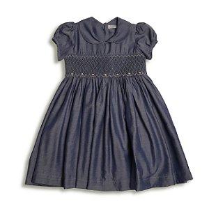 Vestido Infantil Casinha de Abelha Jeans - Tam 1 a 8