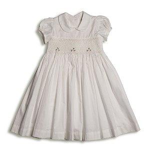 Vestido Infantil Casinha de Abelha Off White - Tam 1 a 2