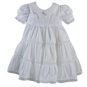 Vestido para Bebê Branco com Renda - Roana - Tam M a GG