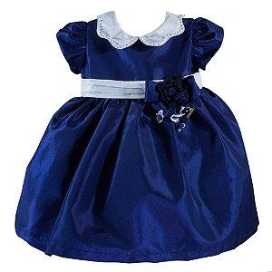 Vestido Infantil para Festa Azul Marinho - Tam GG - Roana