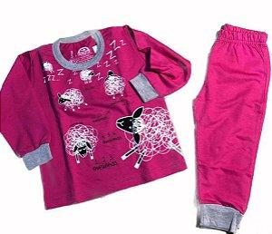 Pijama Infantil Manga Longa - Moletinho - Ovelhas Pink - Tam 1 a 6