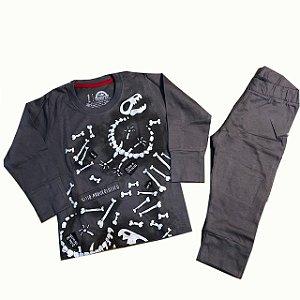 Pijama Infantil Manga Longa Moletinho - Brilha no Escuro - Dino Ossos