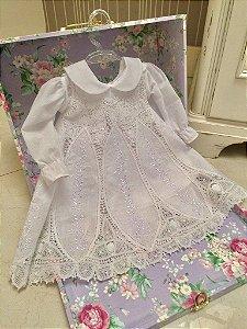 Vestido Renda Renascença - 6 a 12 meses