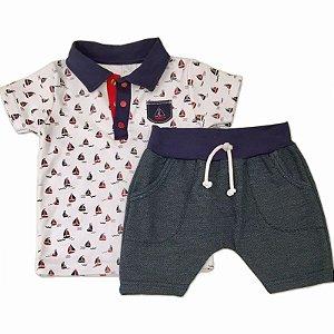 Conjunto Infantil Masculino Polo e Shorts Barcos - Piu Piu - Tam 3
