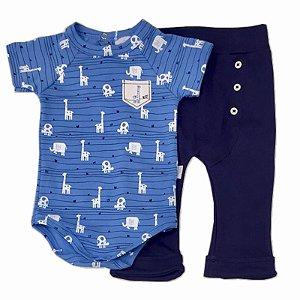 Conjunto Infantil Masculino Body e Calça Safari - Piu Piu - Tam P a GG