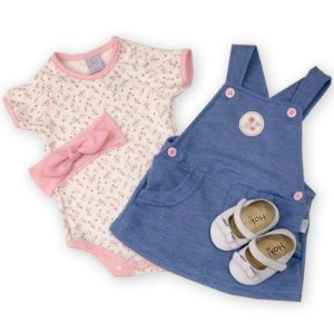 Conjunto Feminino Jardineira Malha Jeans e Body - Piu Piu - Tam GG a 2