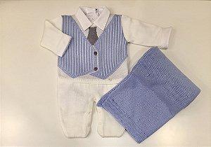 Saída de Maternidade Macacão Colete e Gravata Branco - Tamanho RN