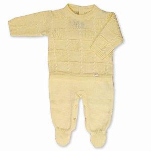 Saída de Maternidade Macacão Quadros com Tranças - Amarelo