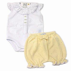 Conjunto Shorts Tricô Amarelo e Body Bordado - Tam P ao G