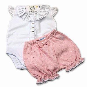 Conjunto Shorts Tricô Rosa e Body Bordado - Tam P a G