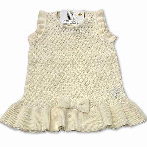 Vestido Salopete Colmeia - Tricô Amarelo 100% algodão - Tamanho P a G