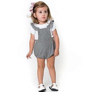 Macaquinho Infantil Fofura - Cinza e Branco - Tamanho P ao 1