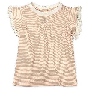 Camiseta Mini Pompons Rosê - Tamanho 1 a 6