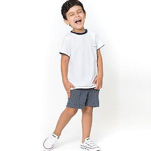 Camiseta Infantil Branca com Detalhes Azul Marinho - Tam 1 ao 6