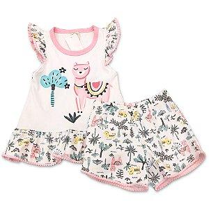 Pijama Infantil Regata e Shorts Lhama - Tamanho 2 a 6