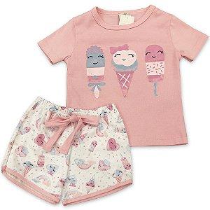 Pijama Infantil - Manga Curta e Short Sorvete com Glitter - Tamanho 1 a 6
