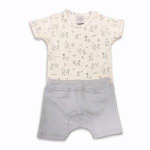 Conjunto Infantil Masculino Body e Shorts Saruel - Algodão Egípcio - Tam P a GG