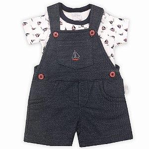 Conjunto Jardineira Infantil Masculina Jeans e Body Barquinho - Tam P a 1