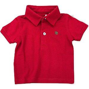 Camiseta Polo Bebê Masculina Vermelha - Tam 6 a 18 meses