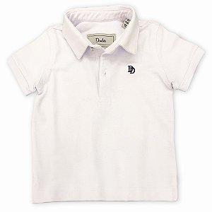 Polo Infantil Masculina Pique Branca  - Tamanho 2 a 8