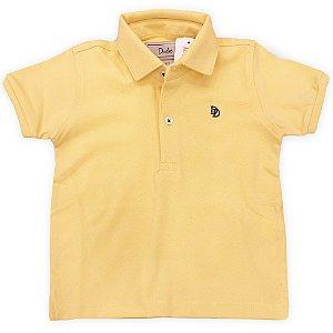 Camiseta Polo Infantil Masculina Amarela - Tamanho 2 a 8