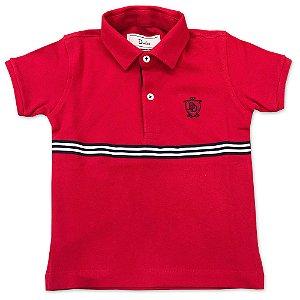 Camiseta Polo Infantil Vermelha - Tamanho 8