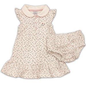 Vestido Infantil Estampa Floral - Algodão Egípcio - Tam 1 a 2