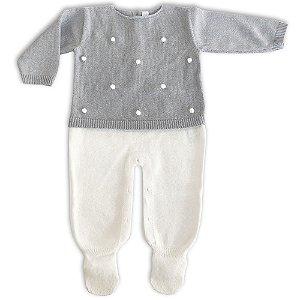 Macacão Saída de Maternidade Bolinhas Off White e Cinza