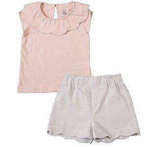 Conjunto Infantil Feminino Gola Petala Branco e Rosa - Tam 1 a 6 anos