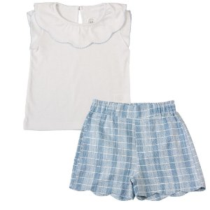 Conjunto Infantil Feminino Petala Azul e Branco - Tam 1 a 6 anos