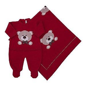Conjunto Saída de Maternidade e Manta Urso Vermelho