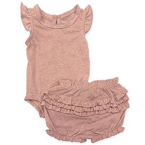 Conjunto Bebê Shorts e Body Babados Rose - Tam 6 a 24 meses