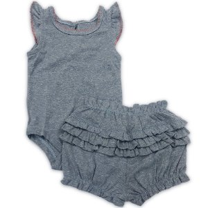 Conjunto Bebê Shorts e Body Babados Azul - Tam 6 a 24 meses