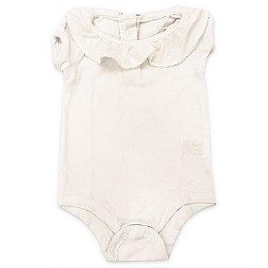 Body Baby Girl Branco Gola Babado - Tamanho 0 a 18 meses