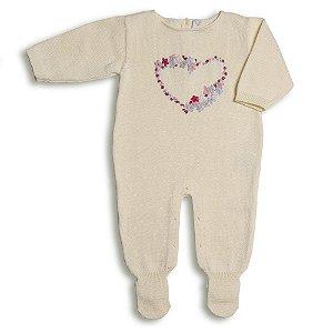 Macacão Saída de Maternidade Feminina Amarela - Bordado Coração