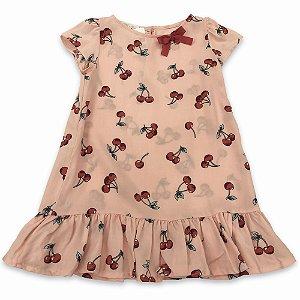 Vestido Infantil Cerejas - Tam 4 e 6