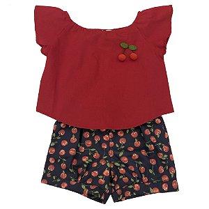 Conjunto Infantil Shorts e Bata Cereja
