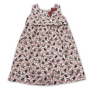 Vestido Infantil Náutico Vermelho - Tam P a 4