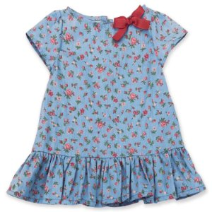 Vestido Infantil Floral Azul - Tam 1 a 8