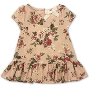 Vestido Infantil Rosas - Tam 2 a 8