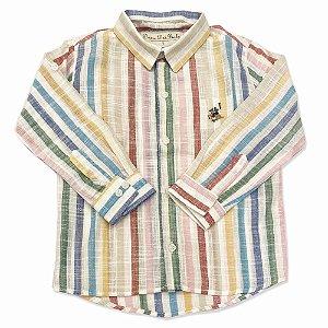 Camisa Infantil Masculina Listras Coloridas