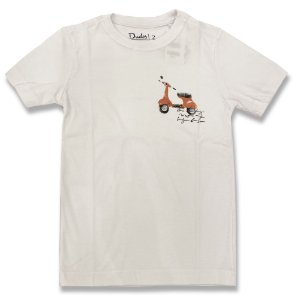Camiseta Infantil Motonete Branca - Tam 3 ao 8