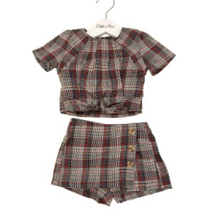 Conjunto Infantil Blusa e Saia Xadrez