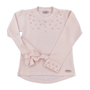Blusa Pérolas Rosa Pastel - Tam 4 a 8