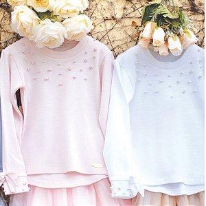 Blusa Pérolas Branca - Tam 4 a 6