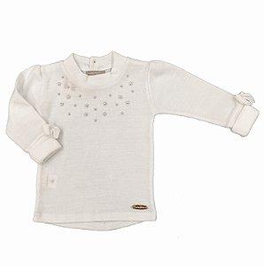 Blusa Pérolas Branca - Tam 4 a 8