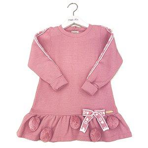 Vestido B Pompons Rosa Bouquet - Tam 4 a 8