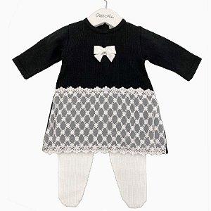 Vestido Saída Maternidade Renda Florzinhas Preto - Tamanho P