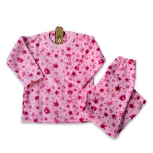 Pijama Infantil Soft Laço e Coroa Rosa