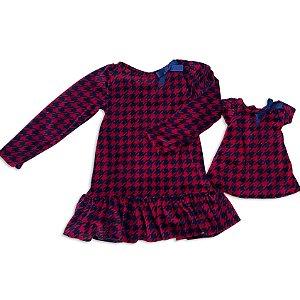 Kit Vestido Menina e Boneca Plush Marinho e Vermelho